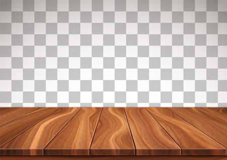 Textured wooden floor isolated on transparent background. Surface made from natural walnut boards. Realistic 3D vector illustration. 向量圖像