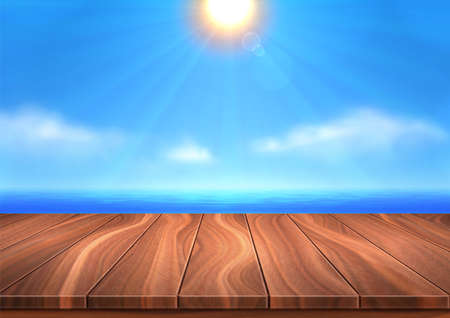 Realistic 3D landscape. Vector wooden surface is opposite background of sea, blue sky and shiny sun. Summer weather is calm, the sun is at its zenith. Place for your text, objects, copy space. 向量圖像