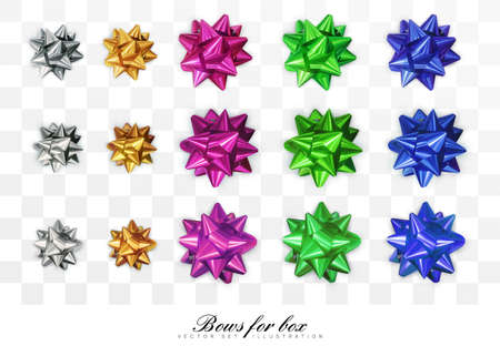 Glossy, shiny bows in various colors isolated on transparent background. Top view. Designed for holiday design. Realistic, 3D vector illustration.