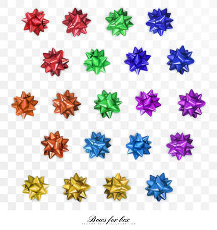 Many shiny bows in various colors isolated on transparent background. Top view. Designed for holiday design. Realistic, 3D vector illustration. 向量圖像