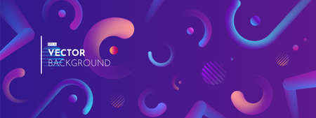 3d rounded elements on a blue-purple background. Trendy colorful gradients. Minimalistic horizontal vector illustration.