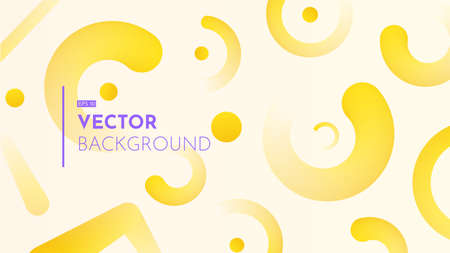 3d rounded elements on light background. Summer abstract backdrop in yellow shades. Trendy warm colorful gradients. Minimalistic horizontal vector illustration. 向量圖像