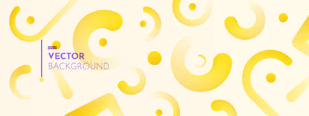 3d rounded elements on light background. Summer abstract backdrop in yellow shades. Trendy warm colorful gradients. Minimalistic horizontal long vector illustration. 向量圖像