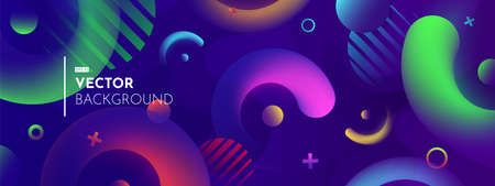 Realistic 3D and flat objects on dark blue background. Soft light effect, neon shades. Trendy colorful gradients. Modern vector image for covering, wallpaper, backdrop.
