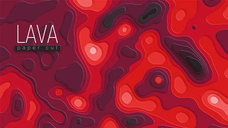 Bright hot lava flows on surface. Abstract background. Copyspace and place for your text. Paper cut vector Illustration.