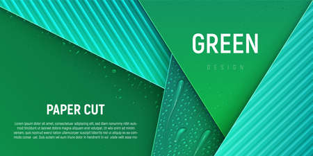 ECO green vector illustration. Different water drops lie on green gradient background. Environment conservation, save the Earth. Bright paper design.