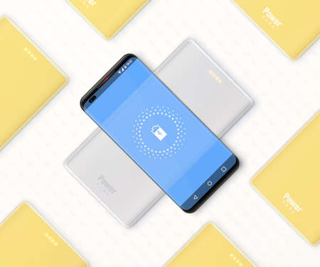 Smartphone is charging by wireless power bank. Many yellow power banks lies around. Square banner. Vector illustration.