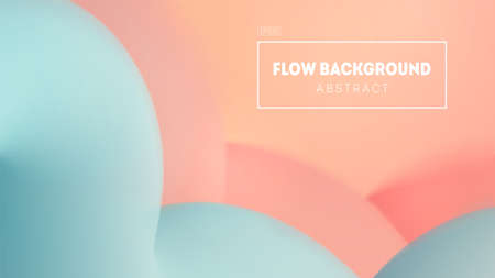 Pastel abstract vector illustration with blurred background. Soft pink and blue shades. Minimal gradients, wavy and flow 3d shapes. Copy space and place for your text.