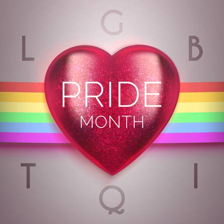 Realistic 3d red heart on rainbow. Pride Month. Celebration realistic vector illustration. LGBTQI - lesbian, gay, bisexual, transgender, questioning or: queer , intersex. 向量圖像