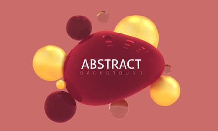 Abstract vector with glass and metal objects. Trendy composition in red shades. Realistic illustration of glossy 3d shapes, golden balls. Modern banner, poster, label.