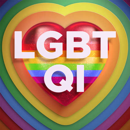 Square banner, vector illustration about LGBTQI movement. Realistic 3d red heart with rainbow colors and shades. Pride Month. LGBTQI - lesbian, gay, bisexual, transgender, questioning, intersex.