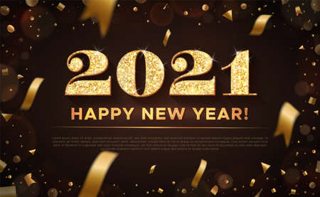 Golden color vector illustration. Banner with gold inscription: 2021 Happy New Year. Vector on black background with flying confetti and bokeh. 向量圖像