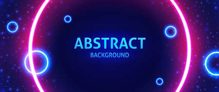 Cosmic abstract vector illustration. Bright neon circles. Circular area in the center for your text, copy space. Modern blue, red vector background. 向量圖像