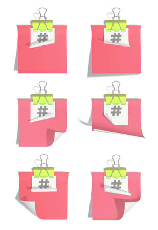 Stickers linked by binder clip isolated on white background. The symbol hashtag is printed on white sticker. Copy space illustration.