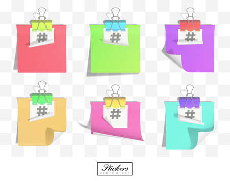 Stickers linked by binder clip isolated on transparent background. The symbol hashtag is printed on white sticker. Stickers in various colors. Copy space illustration.