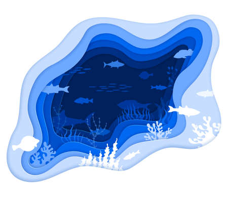 Abstract underwater world. Vector illustration in blue shades. Paper silhouettes overlooking the depths of the sea. Fish, wave, liquid, coral reefs.