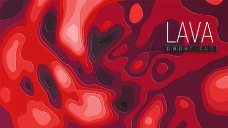 Hot red spilled lava flows. Abstract background. Copyspace and place for your text. Papercut style in red shades. 向量圖像
