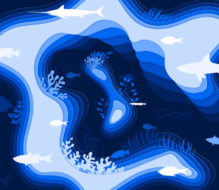 Dark paper cut underwater world. Many abstrakt paper fish swim in the ocean. Fish, wave, liquid, coral reefs. Vector illustration in blue shades. 向量圖像