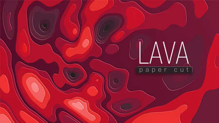 Bright red illustration. Hot lava flows on surface. Abstract background. Copyspace and place for your text. Paper cut vector EPS10.