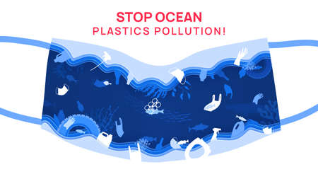Stop ocean plastics pollution, vector illustration in paper cut style. Disposable mask shape. Underwater wildlife with plastic rubbish, trash and waste. Fish, ecology problem, coral reefs, save ocean.