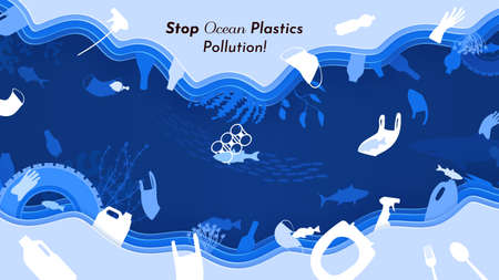 Stop ocean plastics pollution, vector illustration in paper cut style. Underwater wildlife with plastic rubbish, trash and waste. Fish, ecology problem, coral reefs, save ocean nature. 向量圖像