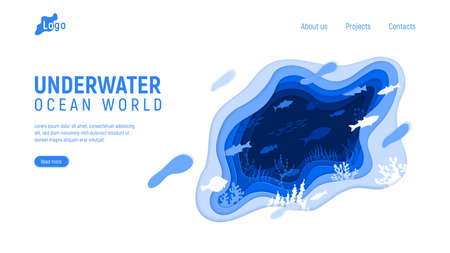 Web page template with abstract underwater shapes. Paper cut fish swim in the ocean. Wave, liquid, coral reefs, vector illustration. 向量圖像