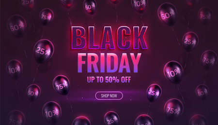 Neon style vector illustration for Black Friday promotion, retail, shopping. Black Friday hot sale banner. Percentage printed on glossy balloons. 向量圖像