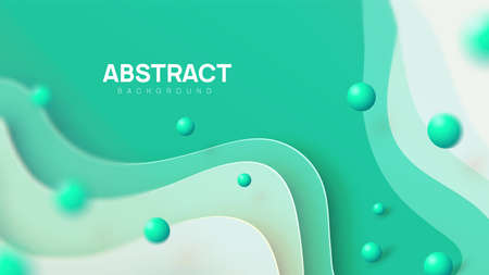 Abstract vector background in green, mint shades. Dynamic paper cut composition with 3d realistic balls in air. Copy space, place for your text.