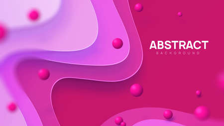 Abstract vector background in pink shades. Dynamic paper cut composition with 3d realistic balls in air. Copy space, place for your text. 向量圖像