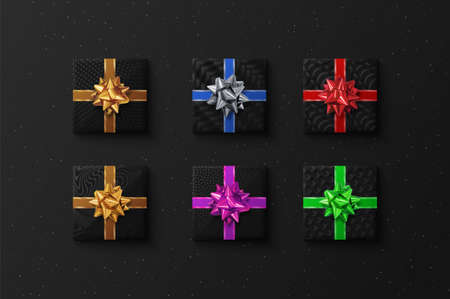 Gift boxes with realistic bows, vector set on dark background. Top view illustration.