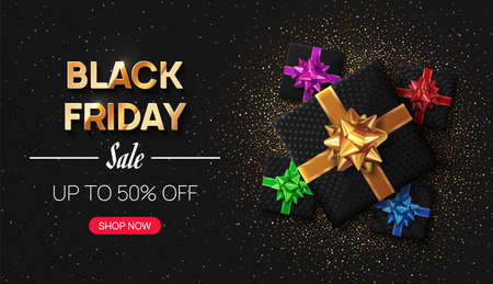 Vector illustrated Black Friday banner, poster. Gifts with red, blue, green, pink, golden bows lay on a dark surface sprinkled with gold and silver confetti. 向量圖像