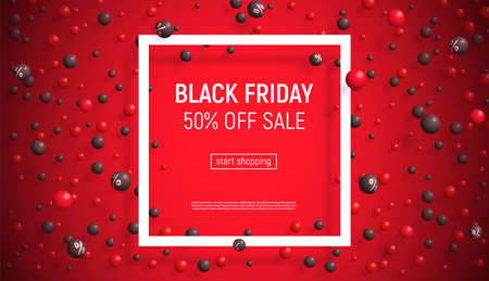 Black Friday sale banner. Vector illustration with matte 3d balls around square frame on red background. Some balls have a percentage sign.