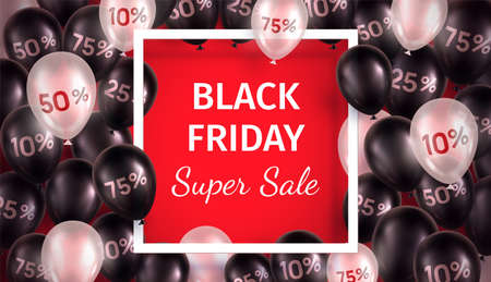 Black Friday sale banner. Vector illustration with glossy 3d balloons around square frame on red background.