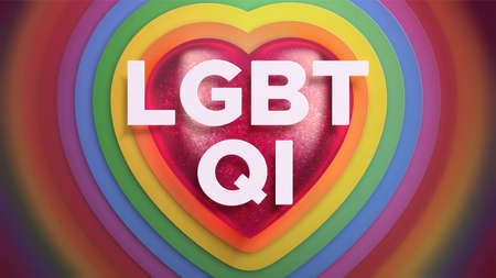 Realistic vector horizontal banner about LGBTQI movement. 3d red heart, rainbow colors and shades. Pride Month. LGBTQI - lesbian, gay, bisexual, transgender, questioning, intersex. 向量圖像