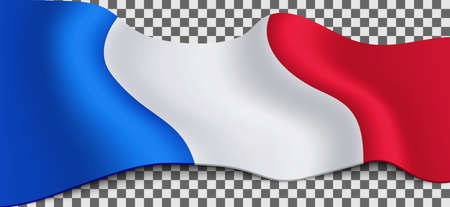 Long French flag on transparent background. Flag for different holidays: Labor day, Victory Day, Bastille Day, Armistice Day, etc. Vector illustration.