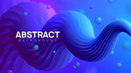 Neon style vector illustration. Wavy and colorful abstract background in pink and blue colors. Bright fluid shapes, flow banner, brochure, web page.