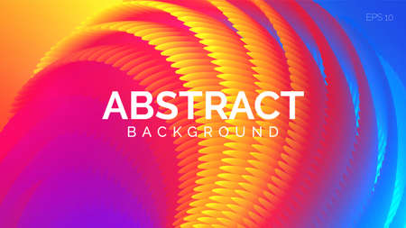 Bright textured abstract background. Wavy shapes in rainbow colors, flow banner, brochure, web page. Vector illustration.