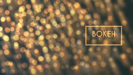 Abstract vector illustration with bright bokeh. Golden defocused particles on dark background. Glitter lights at night.