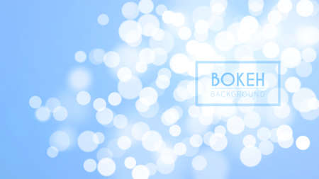 Bright bokeh, defocused particles on blue background. Glitter lights in clear sky. Abstract vector illustration.
