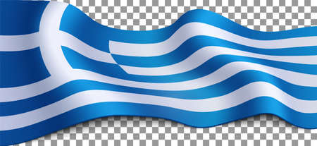 Long greek flag on transparent background. Flag for different holidays: Labor day, Independence Day, Ochi Day, etc. Vector illustration.