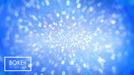 Bright bokeh, defocused particles on blue background. Glitter lights. Abstract vector illustration.