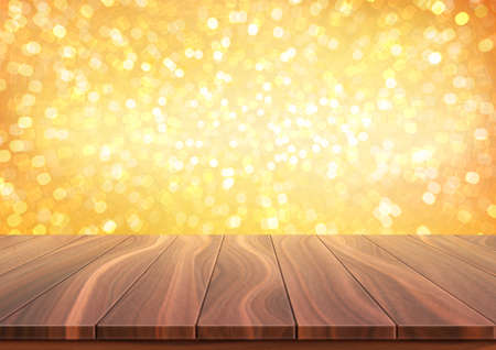 Textured wooden floor against bright golden bokeh background. Surface made from natural walnut boards. Realistic 3D vector illustration with copy space. 向量圖像