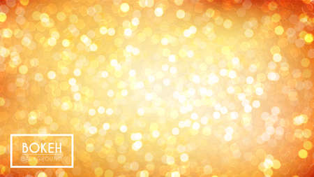 Abstract vector illustration with bright bokeh. Golden defocused particles on orange background. Glitter lights by day. 向量圖像