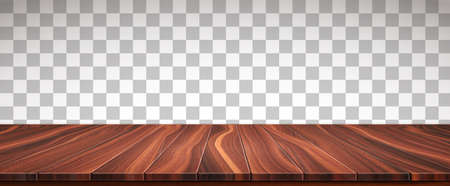 Textured wooden floor isolated on transparent background. Big surface made from natural walnut boards. Realistic 3D vector illustration.