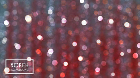 Abstract vector illustration with bright bokeh. Defocused particles in red shades. Glitter lights at night.