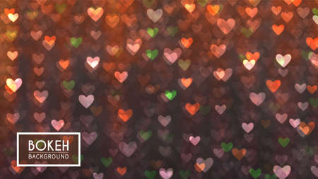Vector Bokeh in the form of hearts. Defocused particles on orange background. Glitter lights at night. 向量圖像