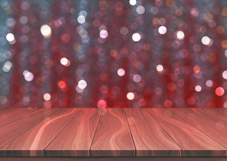 Textured wooden floor against red bokeh background. Surface in focus made from natural walnut boards. Realistic 3D vector illustration with copy space. 向量圖像