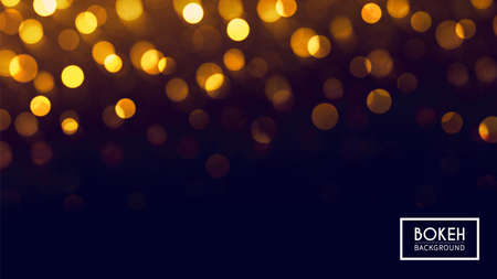 Abstract vector illustration with bright golden bokeh. Defocused particles. Glitter lights at night.