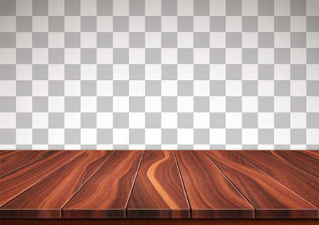 Surface made from natural walnut boards. Textured wooden floor isolated on transparent background. Realistic 3D vector illustration. 向量圖像
