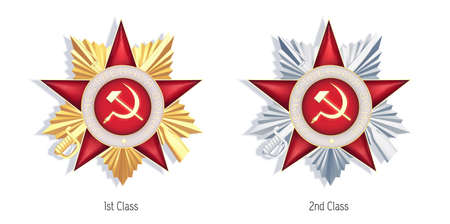 The Orders of the Patriotic War, golden 1st class and silver 2nd class military decorations. The orders were awarded to Soviet soldiers for heroic deeds during the German-Soviet War. Vector graphic. 向量圖像